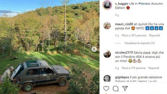 Baggio fotografato dalla figlia su Instagram con la sua Panda
