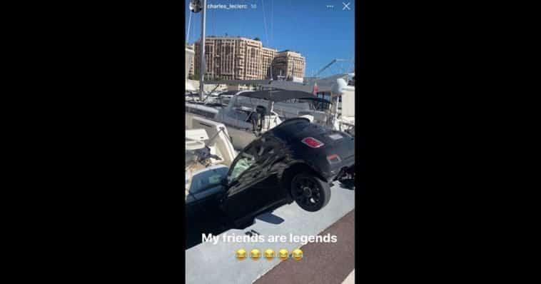 Il pilota Ferrari Leclerc su Instagram posta una Fiat 500 fiita in acqua