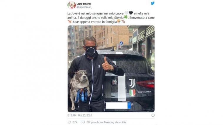 Lapo Elkann brandizza l'auto con lo stemma della Juventus e lo mostra sui social