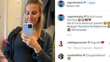 La Cagnotto ha svelato su Instagram di aspettare una femminuccia