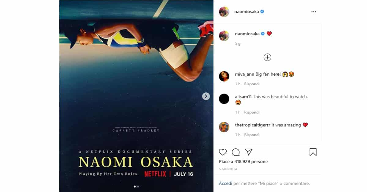Il documentario di Naomi Osaka su Netflix!