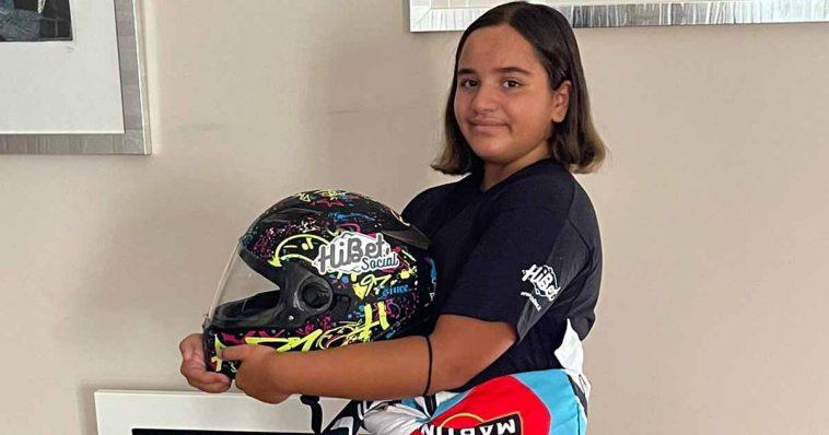 La piccola Ludovica De Leo al suo esordio nel Kart con Hibet Social